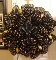 Saints Fluer De Lis Deco Mesh Wreath only $95.00 By: Nicole Leigh Designs @ nicoleleighdesigns@yahoo.com