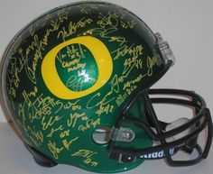 2015 Oregon Ducks team signed green Riddell full size football helmet w/ proof photo! Proof photo of the UO Ducks signing will be included with your purchase along with a COA issued from Southwestconnection-Memorabilia, guaranteeing the item to pass authentication services from PSA/DNA or JSA. Free USPS shipping. www.AutographedwithProof.com is your one stop for autographed collectibles from Oregon sports teams. Check back with us often, as we are always obtaining new items.