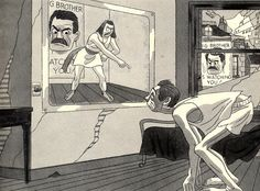 """Not only does the Party control people mentally, but also physically. In this picture you see a man doing his """"physical jerks"""". (exercises that everyone under the party must do when they first wake up in the morning). Everyone is monitored through the telescreen to make sure they actually do the exercise, if they don't they are arrested."""