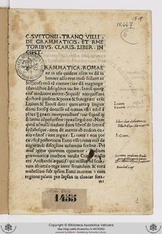 Inc.IV.447(6): Inc.IV.447(6) Suetonius Tranquillus, Caius, f. sec. I-II: De grammaticis et rhetoribus (1478)
