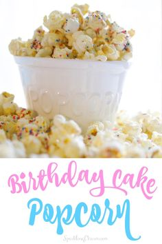 This combo is perfect for a Birthday Party, a Pajama Party, or just fantastic for weekend binge watch food. This is a super easy recipe! Birthday Cake Popcorn, Birthday Party Treats, Party Snacks, Party Games, Birthday Parties, Popcorn Recipes, Snack Recipes, Dessert Recipes, Desserts
