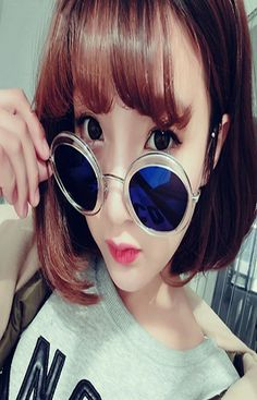 Hot Fashion Summer Women's Round Shape Retro Frame Mirrored Outdoor Eyewear Sunglass
