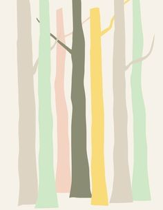 Modern minimal pastel forest - Priss Designs (love the color palette)