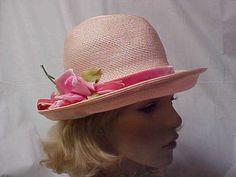 Pink poly straw hat with pink velvet band and side by designer2, $24.00