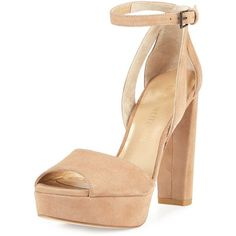 Stuart Weitzman Hijinx Suede Chunky-Heel Sandal (900 BGN) ❤ liked on Polyvore featuring shoes, sandals, heels, cashew, high heel platform sandals, ankle strap high heel sandals, strappy platform sandals, chunky platform sandals and ankle strap sandals