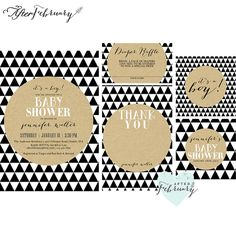 5-Piece-Suite  Baby Boy Shower Invite  Modern by AfterFebruary
