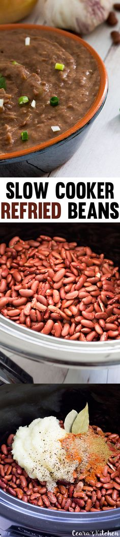 Slow cooker refried beans are cooked on low in the slow cooker for 8 hours. The results are creamy, easy & flavorful refried beans without any oil! #Vegan #GlutenFree #RefriedBeans #MexicanFood