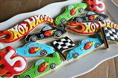 Hot Wheels Sugar Cookies-Race Car Cookies by MaMiMorCookies Hot Wheels Cake, Hot Wheels Party, Car Wheels, Car Cookies, Fancy Cookies, Cars Birthday Parties, 4th Birthday, Festa Hot Wheels, Wheel Cake