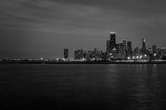 Gotham City in black and white.