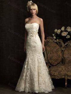 Robe de mariage ajustée longue en satin bustier blanche broderie ruban-Sur Mesure