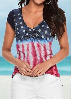 American Flag Print 4Th Of July Short Sleeve Top