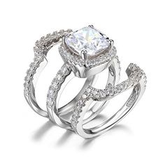 Jewelrypalace Women's 6.87ct Cushion Halo Engagement Ring Bridal Set Wedding Anniversary 925 Sterling Silver Cubic Zirconia Size 7 by JewelryPalace
