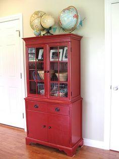 red hutch redo for Hadley Invergo Hutch Redo, Hutch Makeover, Furniture Makeover, Diy Furniture, Spray Paint Furniture, Painted Furniture, Red Hutch, Red Cabinets, Cupboards
