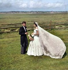 Senator John F. Kennedy and Jacqueline Bouvier Kennedy on their wedding day. September 12, 1953. [colorized]