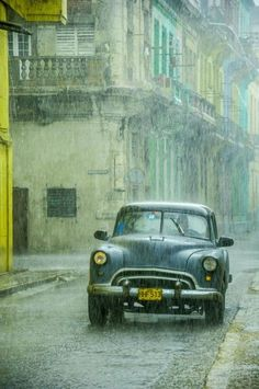 Rain in Havana. This looks like a warm summer rain. The type that eases your mind and cleanses your soul