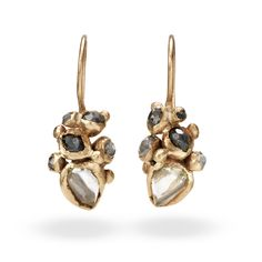 Raw Diamond Cluster Drop Earrings from Ruth Tomlinson