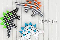 O dinossauro que ama a cidade! Dino em tecido 100% algodão e feltro. Várias cores e padrões.