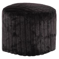 Howard Elliott Mink Tall Pouf Ottoman in Black