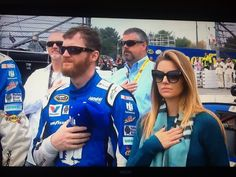 and his fiancé during the national anthem before the race at Nascar Martinsville, Austin Dillon, Dale Earnhardt Jr, Amy, Mens Sunglasses, Christian, Rose, Style, Swag