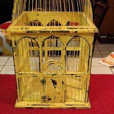 Vintage Yellow Bird Cage