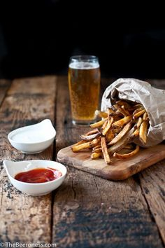 Beer Soaked Oven Fries. How to use beer to get the prefect creamy inside and crispy outside