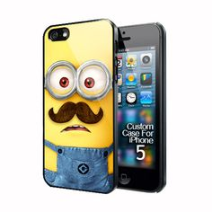 New Despicable Me Minion with Cute Mustache iphone 5 black/white case I need this in my life