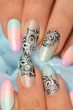 lace nail art 2 - 50 Intricate Lace Nail Art Designs <3