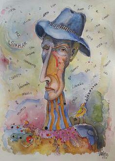 Ilustração de Ricardo Inácio Poeta António Aleixo  www.inacio.com.pt