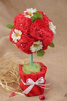 DETAILS - This happiness tree is a decoration that will create positive atmosphere in your house. This handmade topiary is created of artificial flowers and decorated with beads and other elements. The item is fixed in a pot with sisal coated with satin fabric. To your order such topiary can be made in different colors and sizes. <p>DIMENSIONS - </p> <p>Length: 5.51 inches (14cm)<br> Width: 5.51 inches (14cm)<br> Height: 11.42 inch (29.5cm)<br> Weight: 0.62 lb (0.28kg)</p>. CARE - Save…