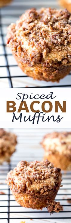 SPICED BACON MUFFINS: These are Protein Spice Muffin with Bacon Brown Sugar Streusel topping is the best muffin you will ever eat. Created in partnership with Vital Proteins - Eazy Peazy Mealz (Baking Bread Tofu) Zucchini Muffins, Muffins Blueberry, Bacon Muffins, Almond Muffins, Cheese Muffins, Recipes With Yeast, Pastry Recipes, Muffin Recipes, Breakfast Recipes