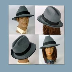 e7e1e351e1326 Grey Felt Velour Fedora Style Hat - Unisex - Vintage Velour Felt - Hand  Blocked - Lined - Weddings - Costume - Car Shows - Bands - Races
