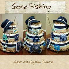 Fishing themed diaper cake, baby boy baby shower, shower gift Fishing themed diaper cake, baby boy b Baby Shower Diapers, Baby Boy Shower, Baby Showers, Diaper Cake Boy, Cake Baby, Baby Shower Crafts, Shower Gifts, Baby Fish, Shower Bebe