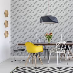 Textured vinyl wallpaper with paper backing perfectly suits for wall design. It is not just beautiful, but practical and stylish. Whatever wallpaper of this kind you choose, the result will always exceed your expectations. With the variety of texture, patterns and colours of the EDEM wallpaper, you can implement any creative ideas and transform any room into the interior of your own style. Wallpaper Direct, Retro Wallpaper, Vinyl Wallpaper, Wallpaper Online, Exceed, Abstract Pattern, Wall Design, Creative Ideas, Colours
