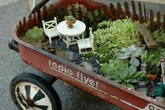 Fairy garden! In a wagon!! by april
