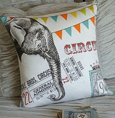Cotton and Burlap Pillow Cover...Vintage Circus Elephant. $35.00, via Etsy.