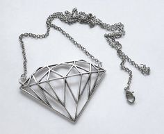 Large Diamond pendant Necklace antique Silver  by AngelPearls etsy $31 CLICK pic & use coupon code PIN10 for 10% off all ITEMS IN MY SHOP ♥
