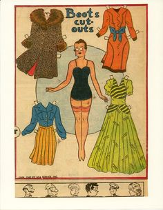 """1942 Cora the wife of """"The Professor- Stephen Tutt"""" is a long-time friend of Boots - newspaper comic strip paper doll"""