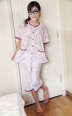 Bear Print Spotty Short Sleeves Women's Pockets Summer Pajama Set on BuyTrends.com, only price $9.50