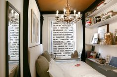 Brooklyn apartment dweller Jen Chu bought an inexpensive pull-down shade and then cut all the letters out of black contact paper. She took a quote from one of her favorite films, Apocalypse Now.