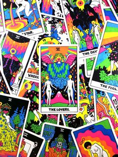 THE TAROT - 78 Card Full Deck | OliverHibert.com Major Arcana Cards, Tarot Major Arcana, Oliver Hibert, The Lovers Tarot Card, Classic Rpg, Tarot Spreads, Dope Art, Oracle Cards, Psychedelic Art