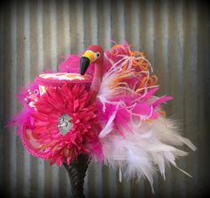 Hot pink polka Dot Flamingo Mini Top Hat, Alice in Wonderland, Mad Hatter hat, Bridal Shower hat, Mad Hatter Hat, pink flamingo hat