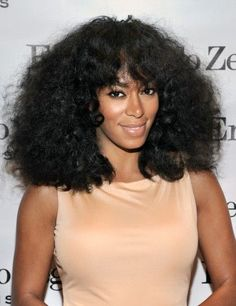 Solange Knowles loves to switch up her curly coif, and this update with bangs at Ermenegildo Zegna 'Essenze' Collection Launch event is refreshing and fab!