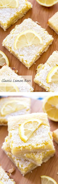 These sweet bars are filled with tangy lemon filling sitting on top of a shortbread crust! The perfect spring dessert.: