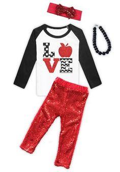 Red Sequin Love Apple Capri Set