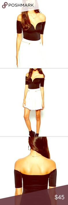 Oh My Love Off Shoulder Plunge Neck Bodysuit Sexy summer styling, pair with a blazer for a sweet surprise ASOS Tops