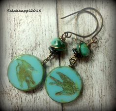 Lovely Earrings, Turquoise, Czech Glass, Bronze, Bird by Salakaappi on Etsy