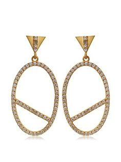 Kevia Triangular Post Earring with Pave Set Oval Drop