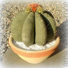 Patrón y tutorial de cactus de tela, echinocactus grusonii, mas conocido como cojín de la suegra.