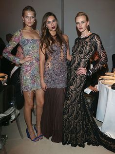 Toni Garrn, Liliana Matthus and Anne V - amfAR Milano 2012 #mfw