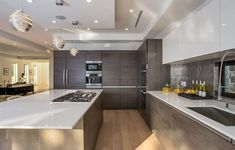 detail imaginable was thought of in this state of the art Leicht German designer kitchen fully equipped with Miele appliances. Modern Kitchen Design, Interior Design Kitchen, Kitchen Living, New Kitchen, Kitchen Counters, Kitchen Small, Living Room, Luxury Kitchens, Home Kitchens